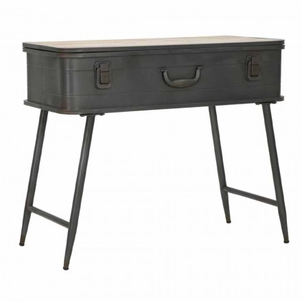 Console with Industrial Design Container in Iron and Wood - Gomes