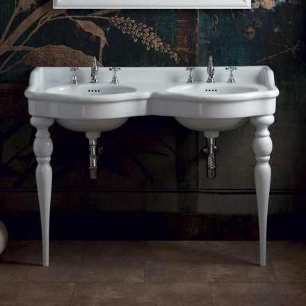 Classic bathroom console with double sink, produced in Italy, Magda