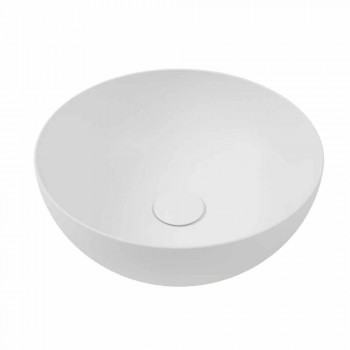 Bathroom Console with Washbasin and Shelf in Porcelain Stoneware 4 Finishes - Ramina