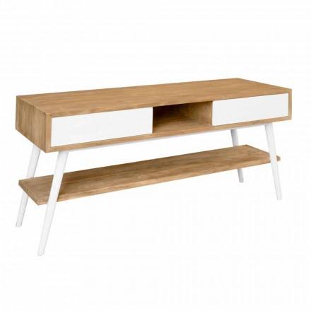 Modern design bathroom console table in natural teak Pistoia