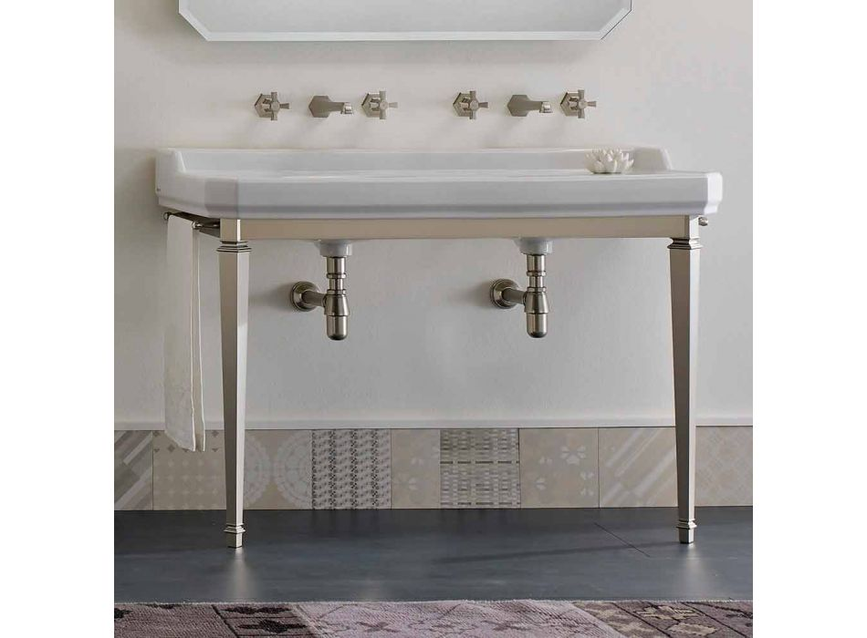 Bathroom Console L 135 cm with Double Bowl in Ceramic Made in Italy - Nausica