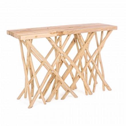 Entrance Console in Natural Teak Wood of Elegant Modern Design - Bilva