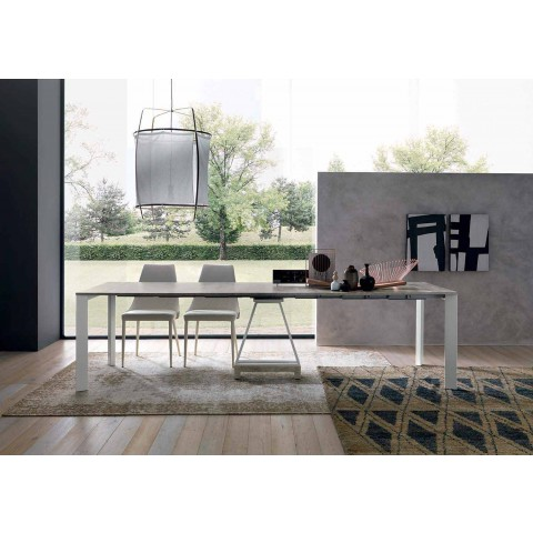 Extendable Design Console in Melamine Wood and Metal Made in Italy - Lionel