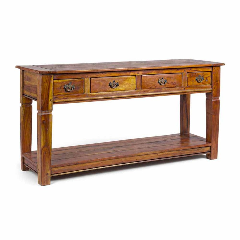 Classic Design Console in Solid Acacia Wood with 4 Drawers - Curcuma
