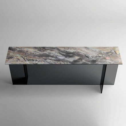Design Console with Marble Top and Glass Base Made in Italy - Molino
