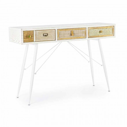 Ethnic Design Console in Mdf and Steel with Decorated Drawers - Paprika