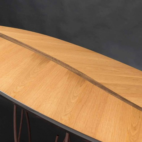 Design console with oak veneer and crafts walnut Fenice