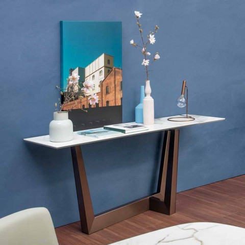 Design Console in Ceramic and Metal Made in Italy - Art