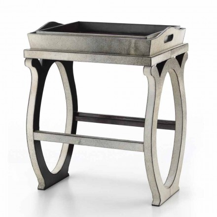 Modern design console with tray in Felicia gray pony leather