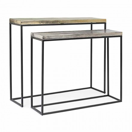 Minimal Industrial Design Console in Steel 2 Pieces Homemotion - Rambutan