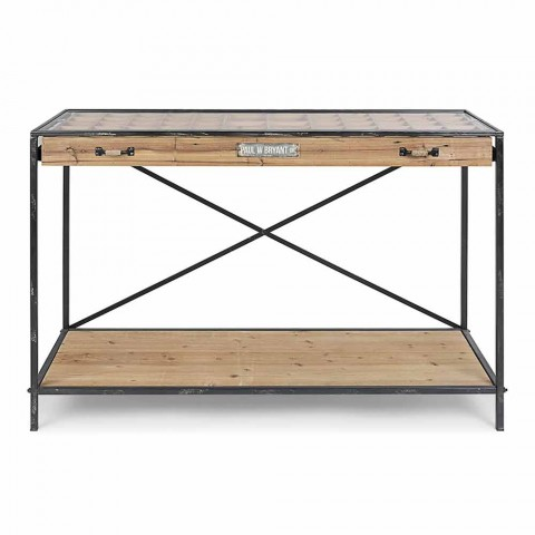 Console Display in Pine Wood, Steel and Design Glass - Frigerio
