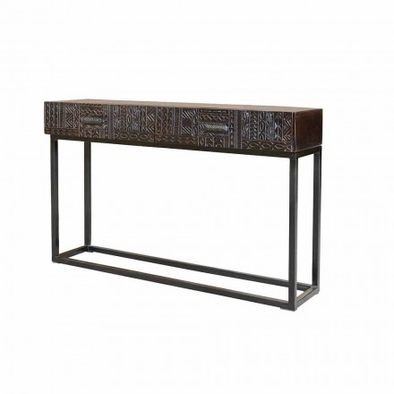 Ethnic Console in Decorated Mango Wood and Iron with 2 Drawers - Nazario5