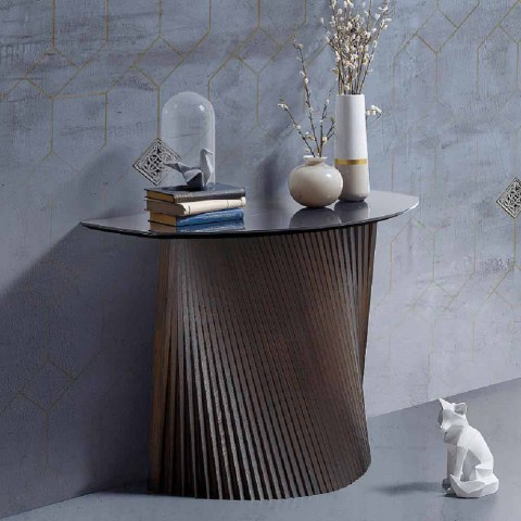 Modern fixed console with convex shape and stoneware top, Apice