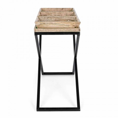 Console in Steel and Mango Wood with Trays of Industrial Design - Lattice