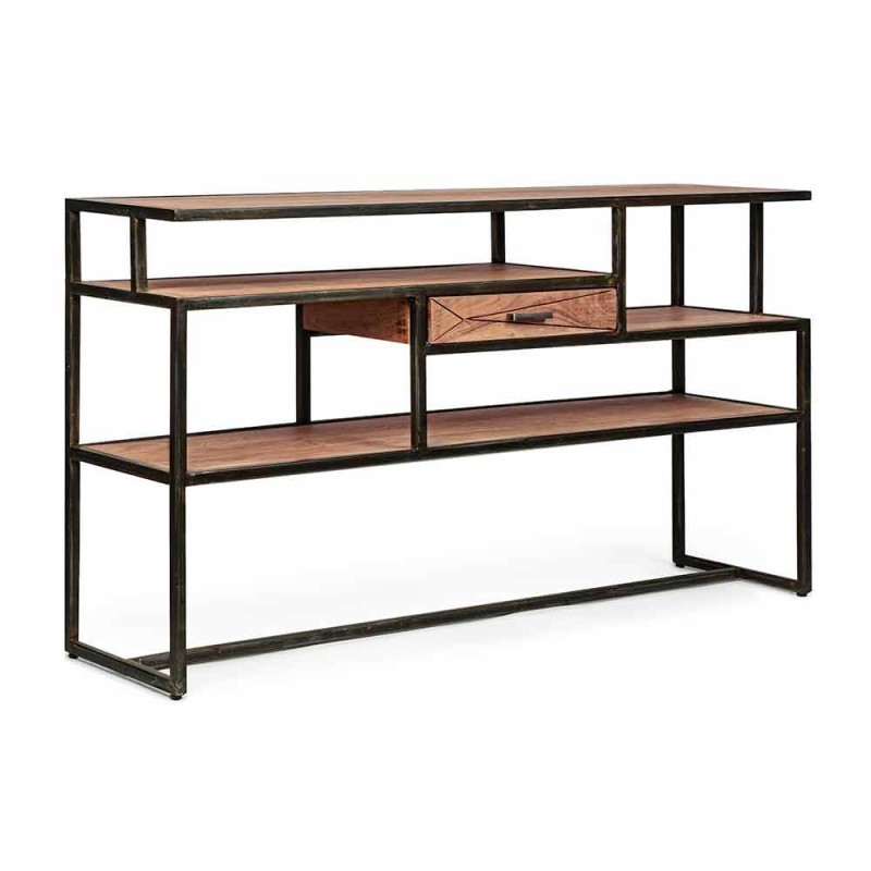 Console in Acacia Wood and Steel with Drawer Design Homemotion - Cristoforo