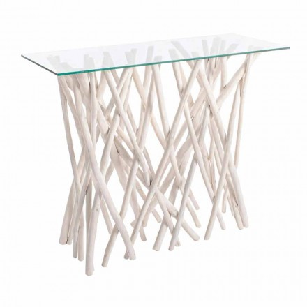 Consolle in Bleached Teak Wood and Luxury Design Glass Top - Francesca