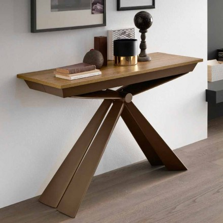 Table Console in Wood and Metal Extendable Up to 295 cm Made in Italy - Timedio