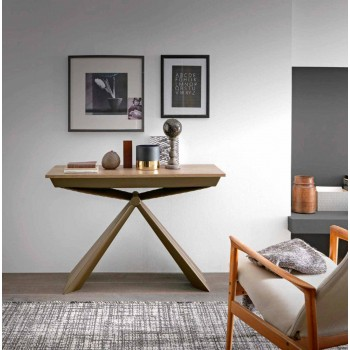 Console in Wood and Metal Extendable Up to 295 cm Made in Italy - Timedio