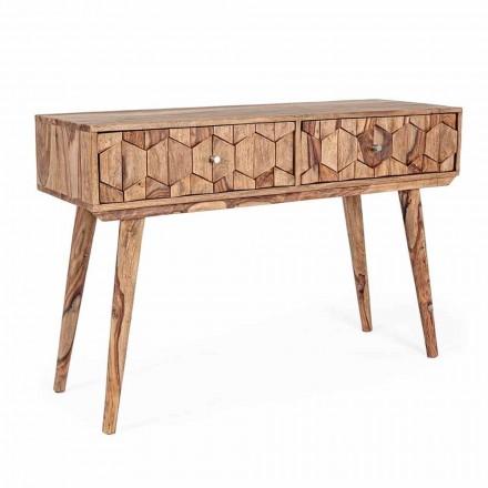 Sheesham Wood Console with Two Drawers Ethnic Design Homemotion - Fregene