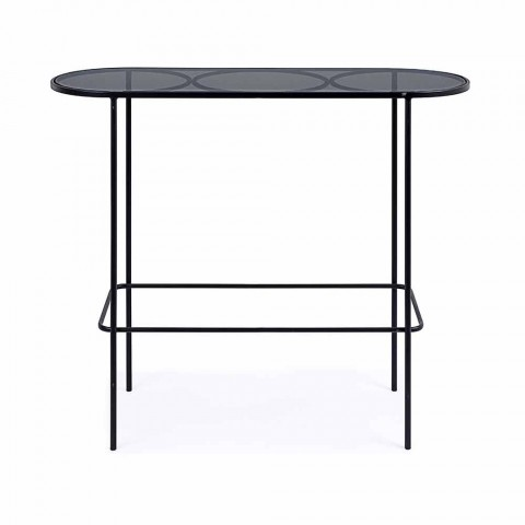 Console in Tempered Glass and Steel of Minimal Modern Design - Linate