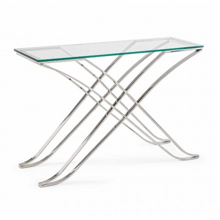 Console in Tempered Glass and Steel Base Modern Design Homemotion - Zafira