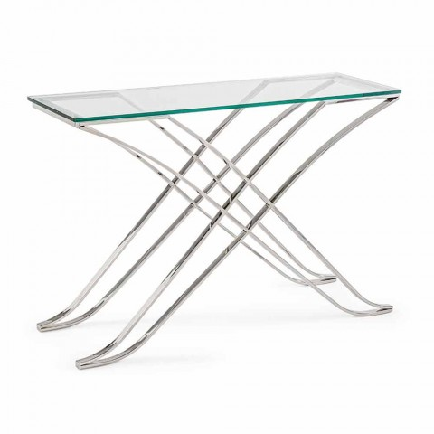 Consolle in Tempered Glass and Steel Base Modern Design Homemotion - Zafira