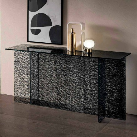Design Entrance Consolle in Decorated Extraclear Glass Made in Italy - Sestola
