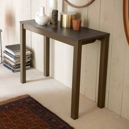 Extendable Modern Table Console in Oak Wood and Metal Made in Italy - Nappo