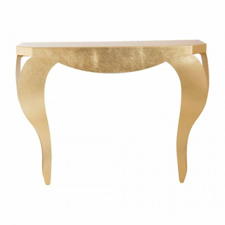Modern Console in Iron Leaf Gold or Silver Made in Italy - Daledale