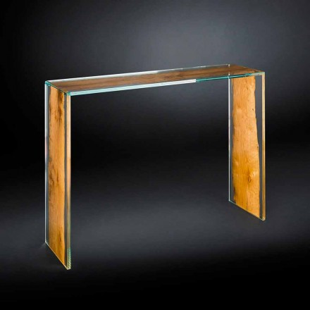 Modern design console table Venezia, glass and wood
