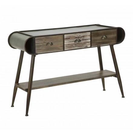 Rectangular Modern Design Console in Iron and Wood - Marek