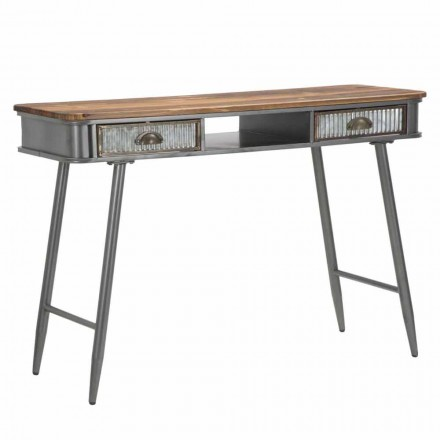 Rectangular Console in Iron and Wood Industrial Design - Ermo