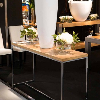 Rectangular console in wood and metal 100% Made in Italy Flora