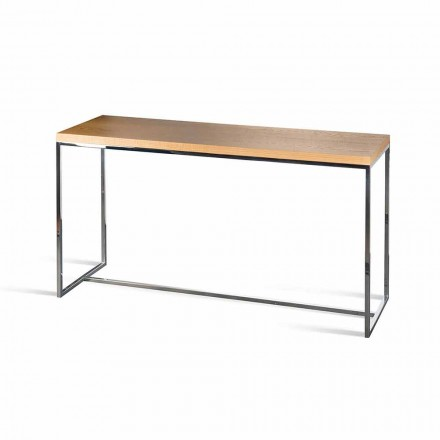 Rectangular console table Flora, made in Italy, wood and metal