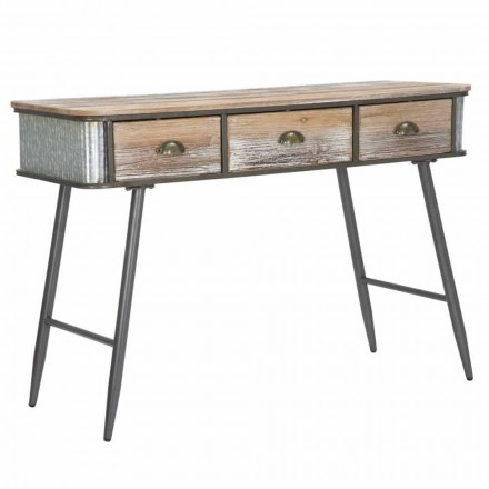 Industrial Style Rectangular Console in Iron and Wood - Samia