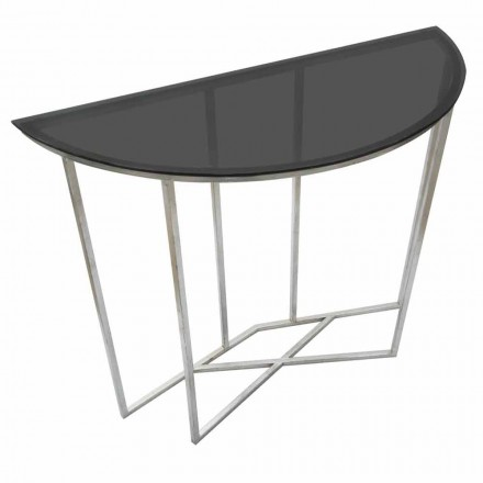 Modern Style Semicircle Consolle in Iron and Glass - Augusta