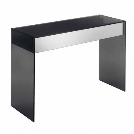 Design Consolle Desk in Smokey Glass with Drawers Made in Italy - Mantra