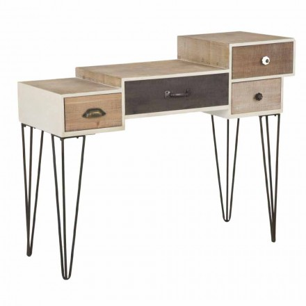 Modern Industrial Style Console with Drawers in Wood and Metal - Lille