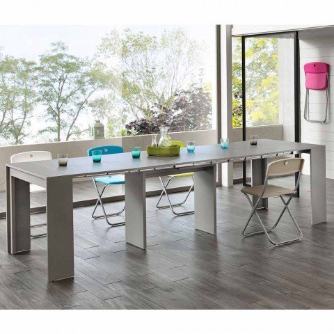 Extendable console / dining table, l. 42.50 / 302.50xp.90 cm, Alvaro