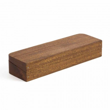 Desk Container in Mahogany Wood with 3 Compartments Made in Italy - Nitro