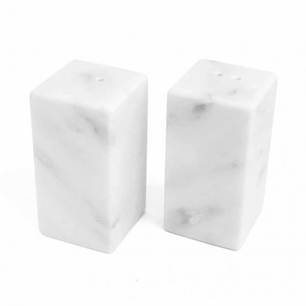 Salt and Pepper Containers in White Carrara Marble Made in Italy - Julio
