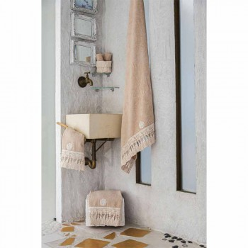 Couple Towels Face and Guest in Terry Cotton with Lace Tassels - Arafico