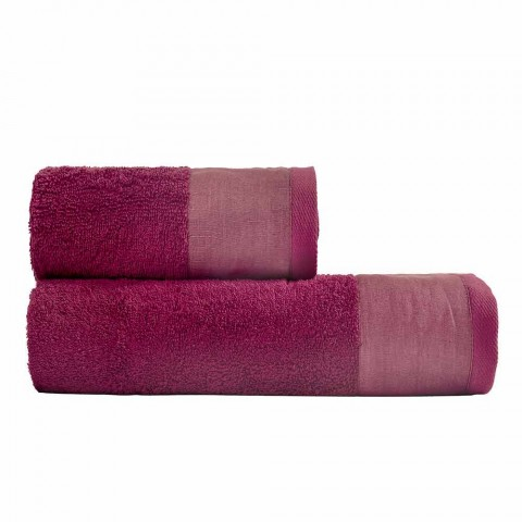 Pair of Colored Cotton and Linen Terry Bath Towels - Senna