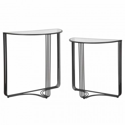 Pair of Modern Design Consoles in Iron and Glass - Ferdie