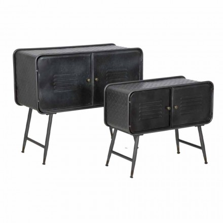Pair of Industrial Style Sideboards for Living Room Vintage Design in Iron - Cuna