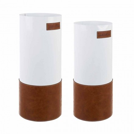 Pair of Modern Umbrella Stand in Steel and Leatherette Homemotion - Umbro