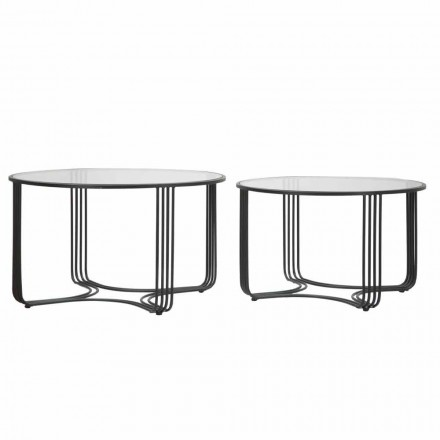 Pair of Modern Round Low Coffee Tables in Glass and Iron - Mirna