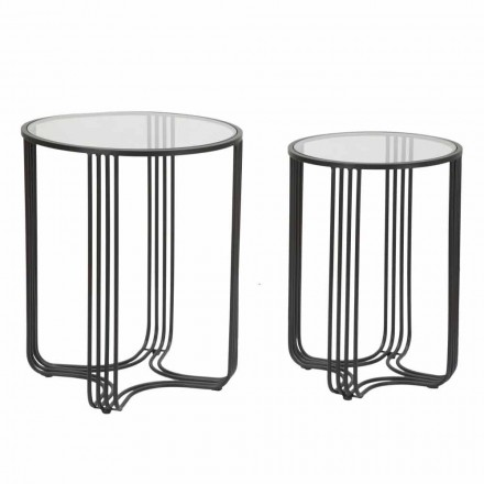 Pair of Round Coffee Tables in Glass and Iron Modern Design - Ezra