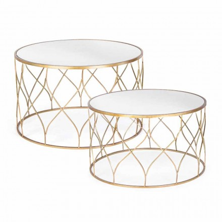 Pair of Round Coffee Tables in Glass and Steel Homemotion - Amarillide