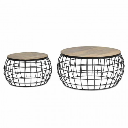 Pair of Round Stackable Coffee Tables in Mango Wood and Iron - Associati